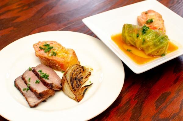 イベリコ豚と雪室たまねぎのロースト or 魚介のロールキャベツ