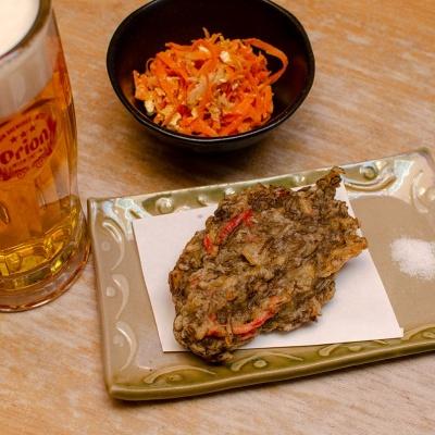 沖縄もずくの天ぷらとにんじんしりしり