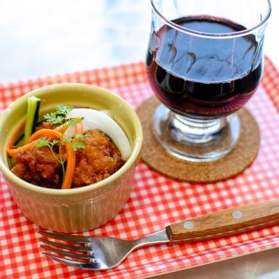 タコ唐マリネ&赤ワイン