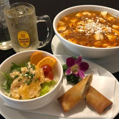 麻婆豆腐湯麺(冷製坦々麺)or 春巻+エビときのこのマヨネーズソース和え